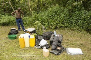 Camera trap and field gear used in Uganda, 2015 (with biologist Sam Isoke)